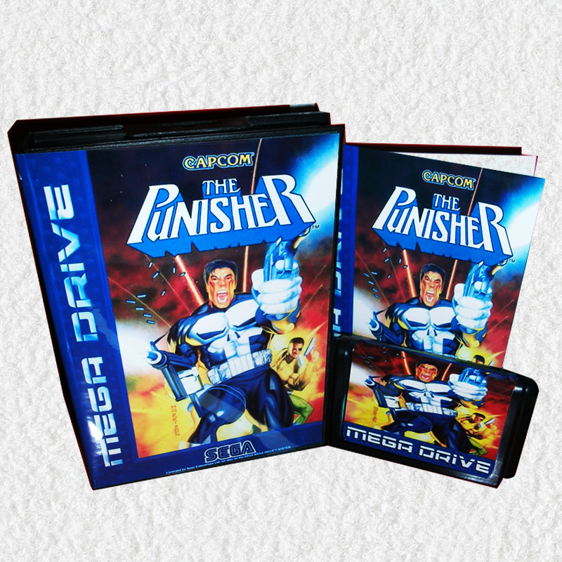The Punisher EU Cover with Box and Manual for MD MegaDrive Genesis Video Game Console 16 bit MD card