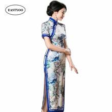 Chinese Traditional Dress Women Silk Cheongsam Long Qipao Mandarin Collar Vintage Dress Flowers Print Qipao Long Chinese Robes