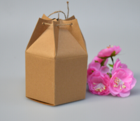 Wholesale Kraft Paper Box with Rope Small Gift Boxes for Boutique Baking Cookie/Candy Packaging Box Cardboard Carton 50pcs