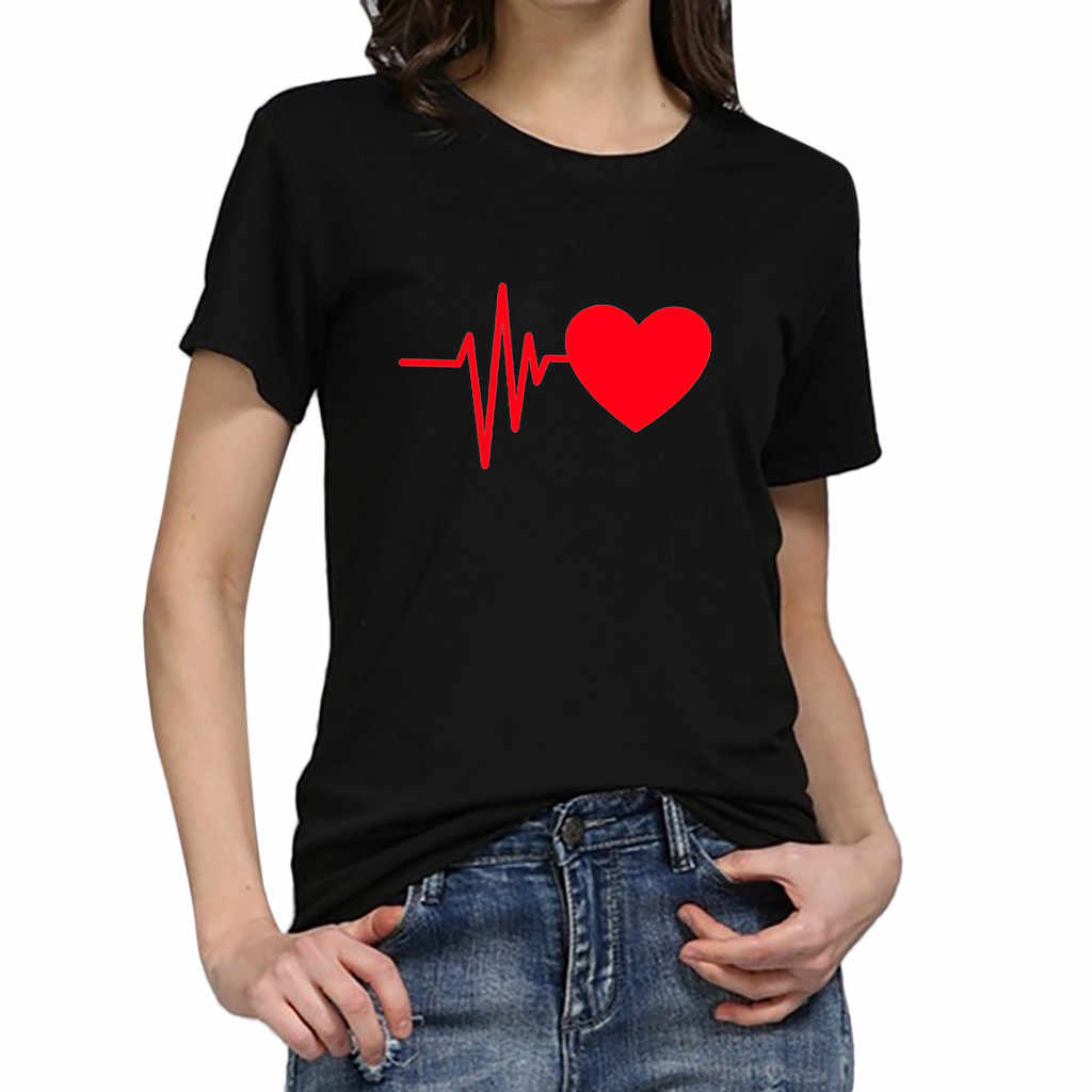 Harajuku Tshirt לנשים קיץ חולצות אופנה יפה לב הדפסה קצר שרוול O צוואר שחור לבן נקבה Streetwear חולצות טי