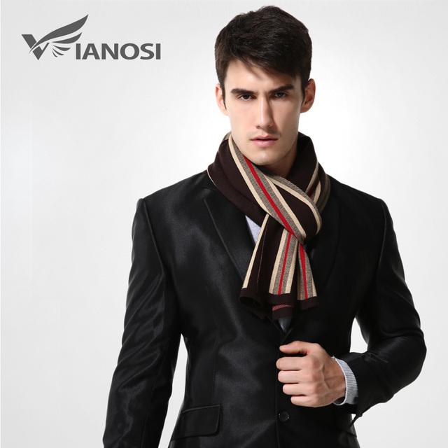 [Vianosi] marca de design lenço listrado cachecóis de lã de inverno dos homens homem de negócios de luxo quente do envoltório do xaile do lenço ma007