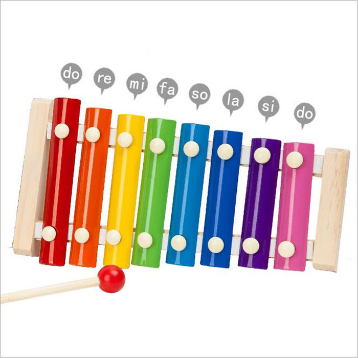 8 Scales Rainbow Colorful Xylophone Children's Musical Instruments Set Cute Kid Baby Educational Developmental Wooden Toys Gift