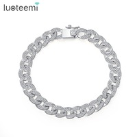 LUOTEEMI Fashion High Quality CZ Crystal Curb Cuban Chain Bracelets For Women White Gold Color Luxury