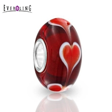 Everbling Jewelry Murano Red Heart Glass 925 Sterling Silver Charm Beads Fits Pandora European  Charms Bracelet  free shipping