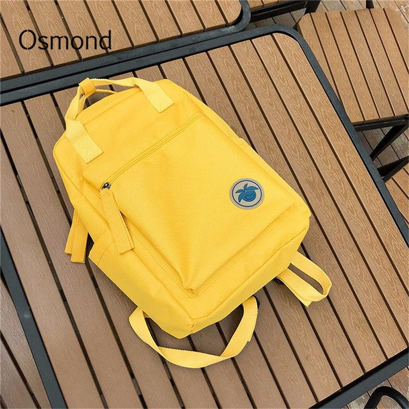 Osmond Women Yellow Back Packs Feminine Canvas Backpack For Teenager Girls Casual Travel Mochila Satchel School Bags Female