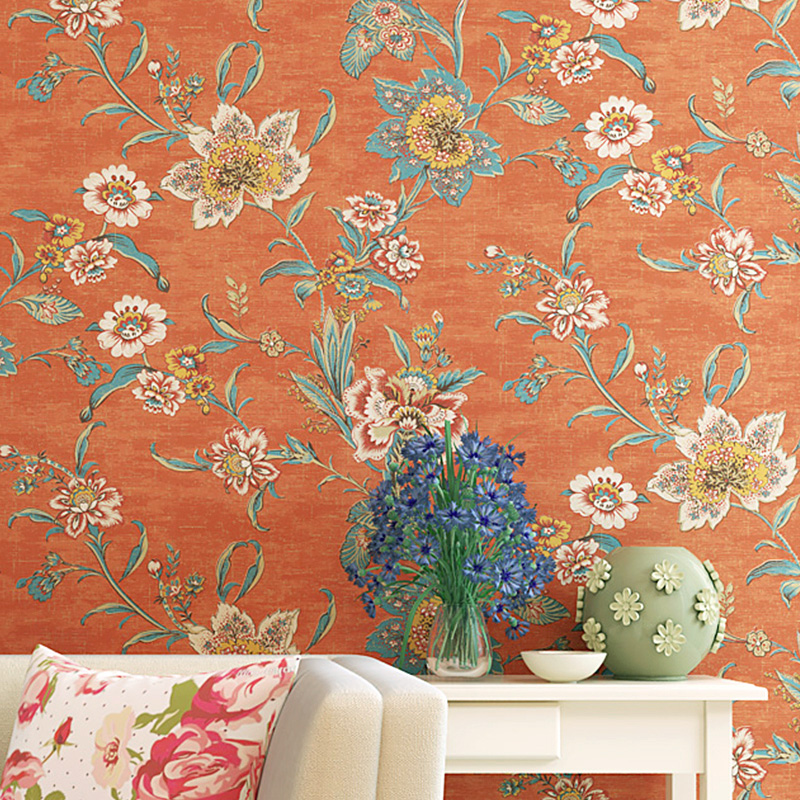 Country Vintage Orange Flower Wallpaper Self Adhesive Large Floral Wallpapers Sticker Roll Paper Wall Papers Home
