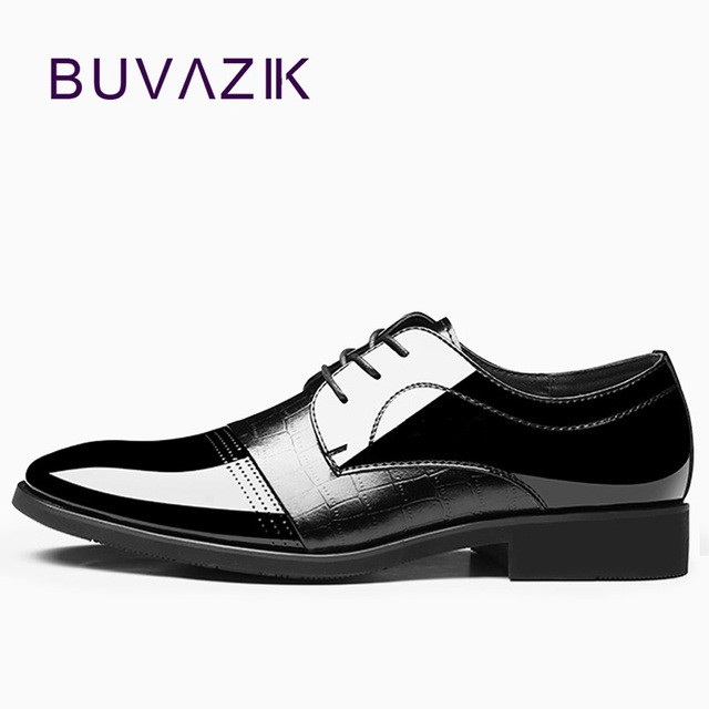 New 2018 Black Shiny Oxfords Microfiber Shoes For Men Lace Up
