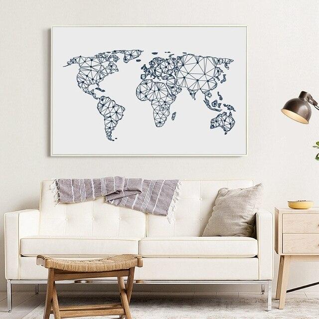 Wereldkaart Canvaskunst Poster Muur Foto, Abstract Wereldkaart ...