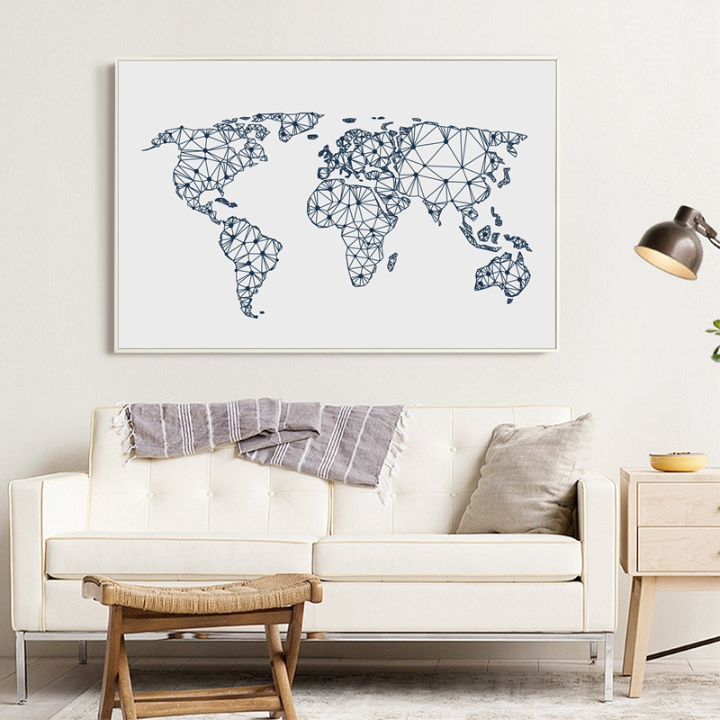 world map canvas art print poster wall pictures abstract