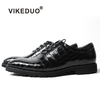 Vikeduo 2018 Summer Office Formal Shoes For Men Fashion Black Crocodile Leather Shoes Wedding Handmade Men's Footwear Zapatos