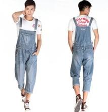 New Man Denim Dress Jeans Bib Pants Overalls Male Loose Plus Size Jumpsuit Casual Suspenders Cargo