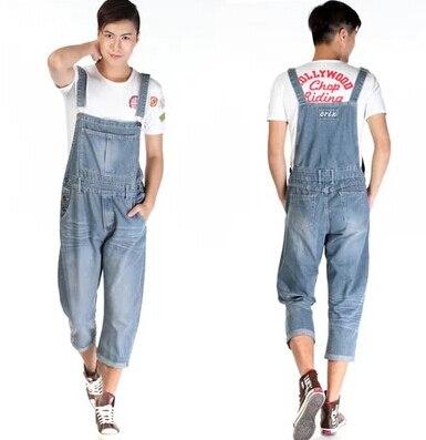 New Man Denim Dress font b Jeans b font Bib Pants Overalls Male Loose Plus Size