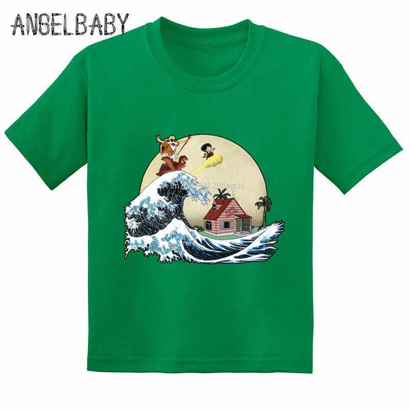 Аниме Dragon Ball Z Goku с принтом «Мастер Роши», Детская забавная футболка Летняя хлопковая футболка для маленьких девочек одежда с героями мультфильмов для мальчиков GKT244