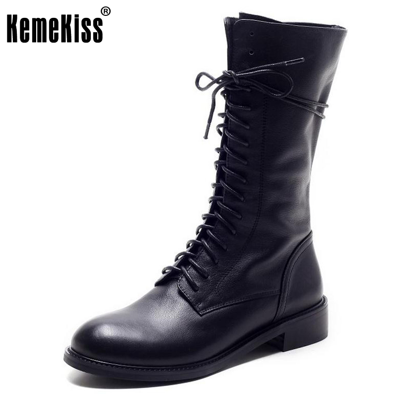 KemeKiss Winter Women Boots Genuine Leather Round Toe Lace Up Half Boots Ladies Botas Mujer Riding Boots Women Shoes Size 34-39 twisee new lace up ankle boots zapatos mujer women genuine leather boots vintage style flat booties round toe women s shoes