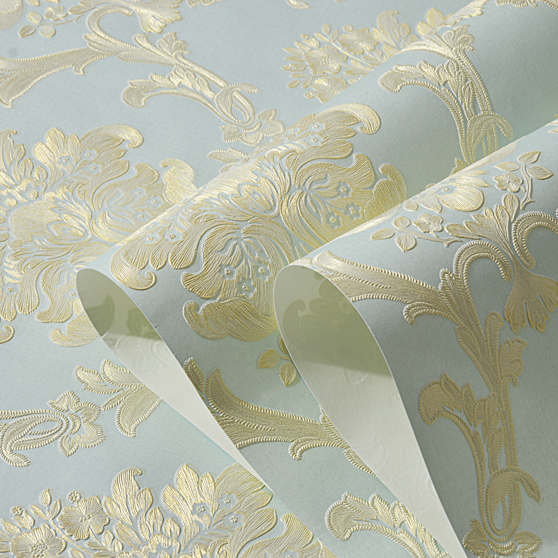 European Style Non-woven Fabric Wallpaper 3D Embossed Damask Wall Paper For Bedroom Living Room TV Background Wallpapers 3D Wall