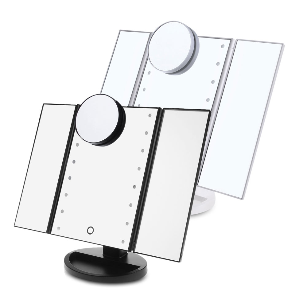 LED Professional Makeup Mirror Three Sides Folding Portable Desktop