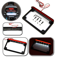 Motorcycle Aluminum LED License Plate Frame With LED Tail Brake Light Universal For Harley Honda Suzuki