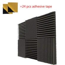 6 PCS ดูดซับเสียงวัสดุกาวเทป Acoustic Wedge แผงสีถ่าน