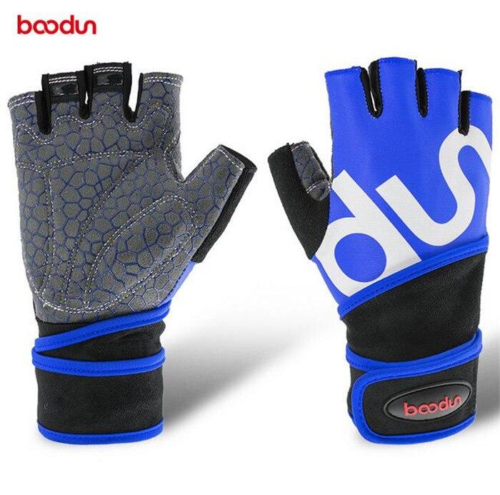 BOODUN Men Women Sports font b Gloves b font Wrist Wrap fingerless fitness font b glove