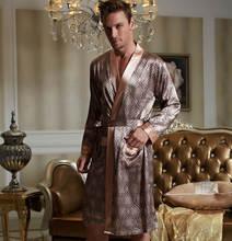 Узором. искусственого геометрическими воротом, полным рукавом, шелка v-образным халат мужской из