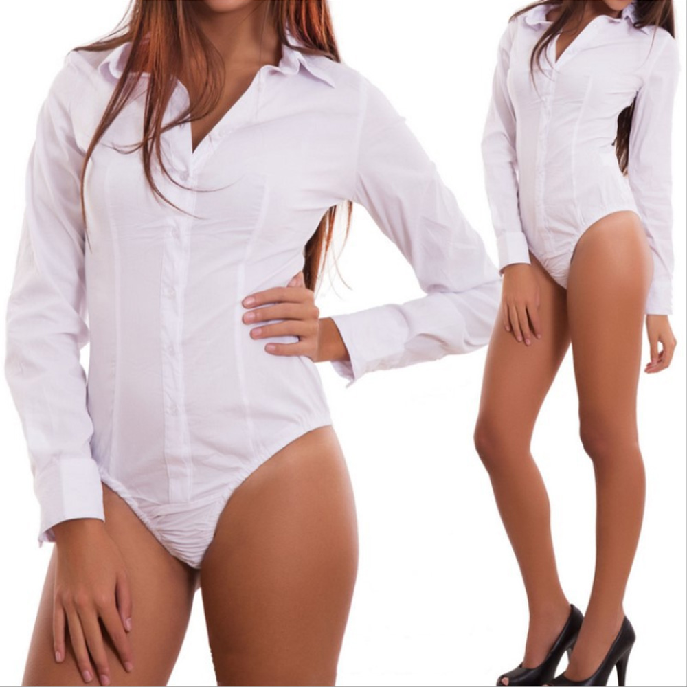 2019 Autumn Plus Size 3XL Women  Fashion Long Sleeve Sexy BodysuitV-Neck Buttons Elegant Slim Romper Body Tops Bodysuit Shirt