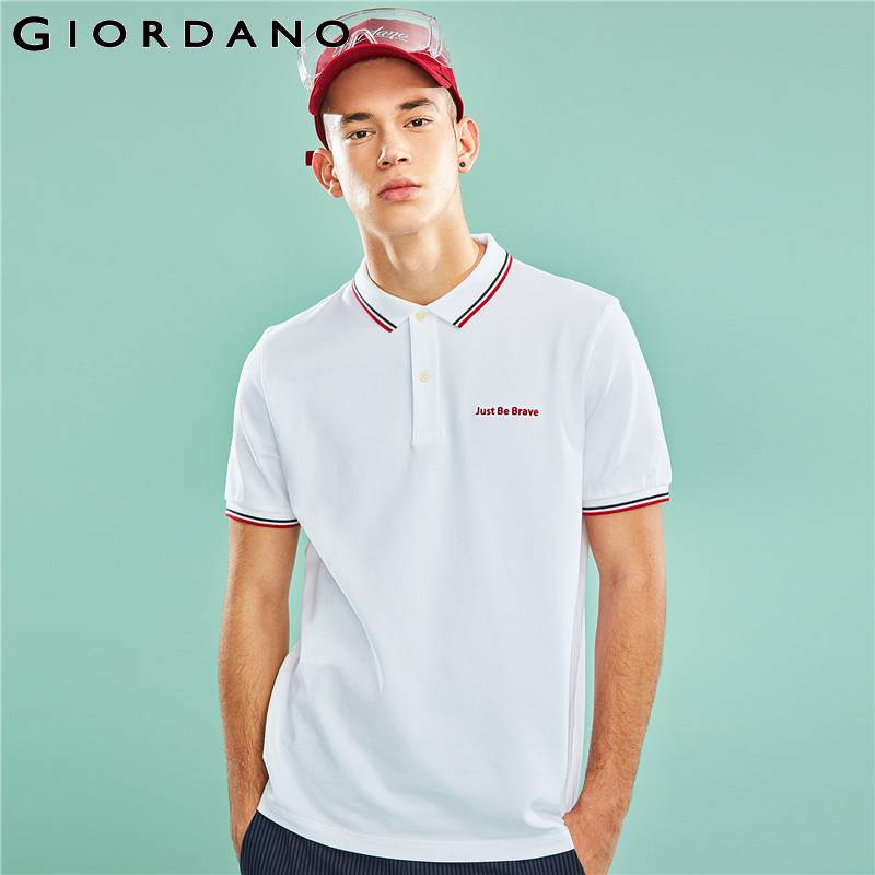 Giordano Men Summer Polo Shirt Men Embroidered Letters Stretchy Cotton Spandex Pique Short Sleeves Slim Polo Men Shirt Stylish