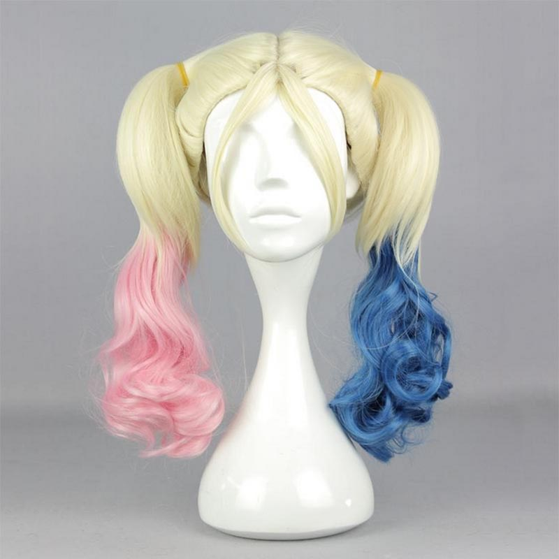 Bat Man Joker Harley Quinn Cosplay Suicide Squad Blonde Ponytail Curl Hair Halloween Gradient Color 45cm Costume Accessories