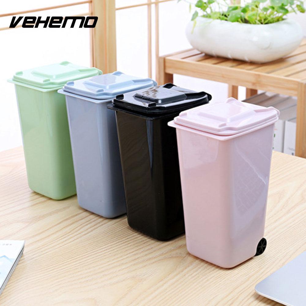 Wheelie Mini Trash Can Dustbin Mini 4 Color 10*8*15.5cm Waste Bins Small Scissors Pencil Cup Rulers