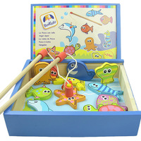 2017 new Wooden toys box fish pond magnetic fishing toys large baby children paternity puzzle education children Jigsaw Puzzles
