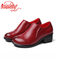 Mntrerm 2017 Pleated Genuine Leather Women Flat Shoes Spring Autumn Soft Thick Heel Women Pumps Shoes