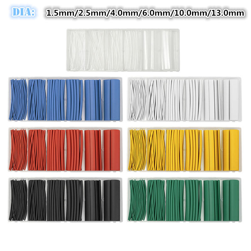 7Colors 100pcs/Set Insulation Shrinkable Sleeving Tubes Polyolefin Ratio 2:1 Heat Shrink Tubing Electrical Equipment Wrap 6Sizes