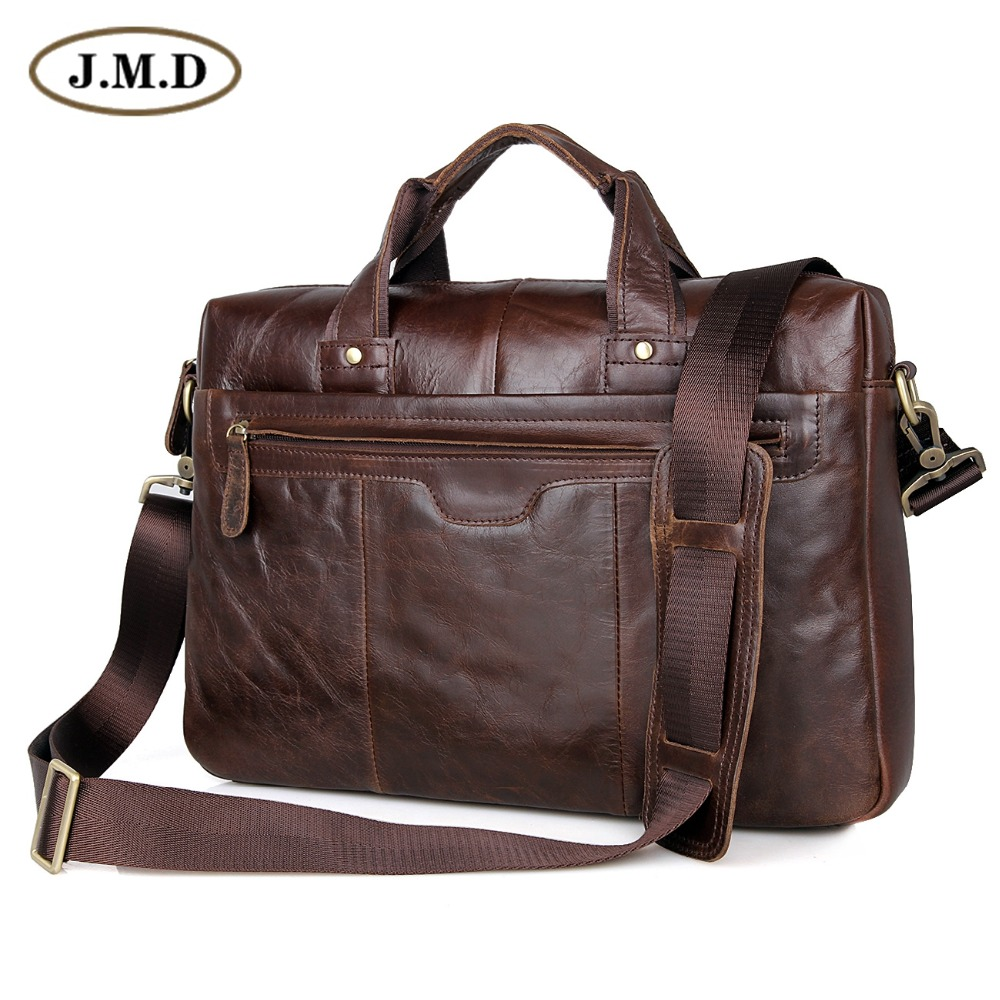 Classic Men's Laptop Bag Vintage Genuine Leather Briefcases Messenger Bag For Man 7075LC 247 classic leather