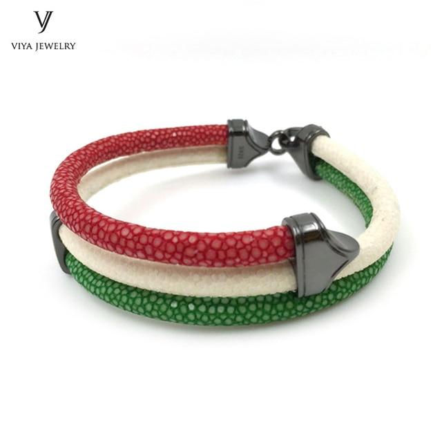 b2785728ff0a Blanco rojo verde 3 Color de la mezcla de colores Stingray pulsera de cuero  para Italia