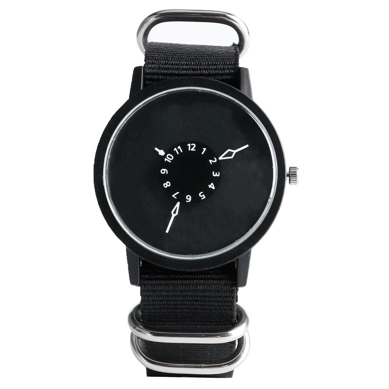 Simple Sport Stylish Trendy Men Women Cool Special Turntable Dial Design Modern Quartz Wrist Watch Brief Nylon Band Gift 3 Type new stylish cool simple finger print dial stainless steel quartz wrist watch wristwatches for men women silver