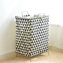 Купить с кэшбэком Large Laundry Basket Iron Shelf  Baby Toys Basket Washing Basket for Dirty Clothes Laundru Hamper Cotton Linen Organizer Bags