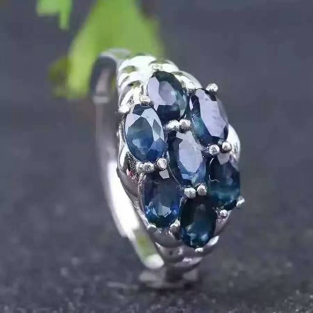 Luxuriouse natural sapphire ring 3*5mm dark blue sapphire gemstone silver ring solid 925 sterling silver sapphire ring for lady