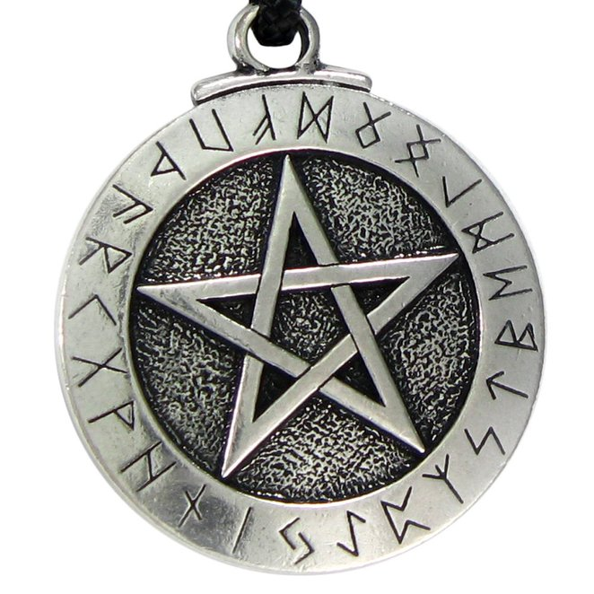 LANGHONG 1PCS Norse Viking Pendant Necklace Large Rune Pentacle Pendant Pentagram Jewelry Wiccan Necklace Norse Pagan Runes