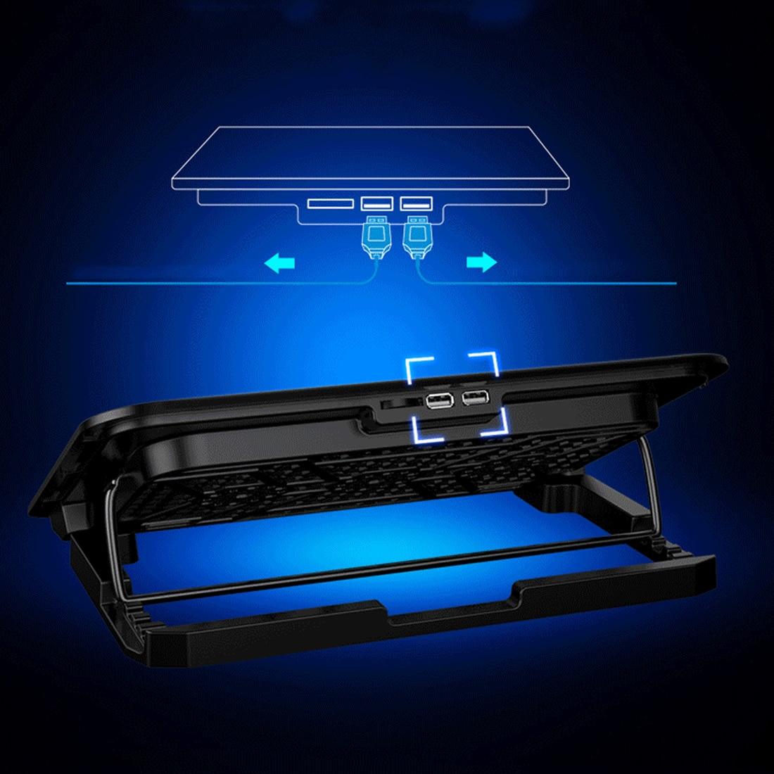 NOYOKERE ordinateur portable tapis de refroidissement LED refroidisseur d'ordinateur portable 14-15.6 pouces 6 ventilateur de refroidissement support plaque muet refroidisseur pour processeur - 6