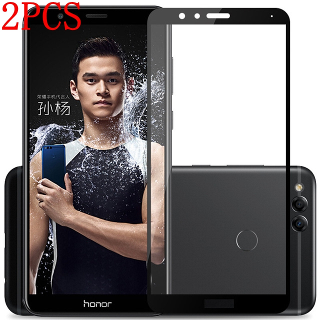 2PCS Full Glue Full Cover Tempered Glass For Huawei Honor 7X Screen Protector protective film For Huawei Honor 7X 7 X glass(China)