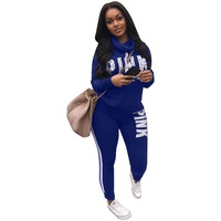 2018 Spring Letter Pink Print Tracksuit Women Casual Outfits Two Piece Set Pants Suits Plus Size