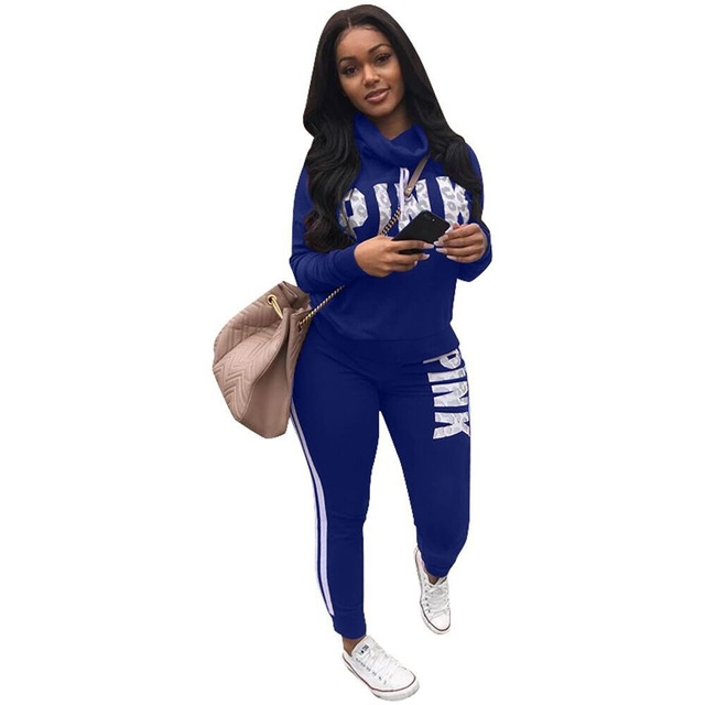 2018 Spring Letter Pink Print Tracksuit Women Casual Outfits Two Piece Set Pants Suits Plus Size Clothing Sets XXXL