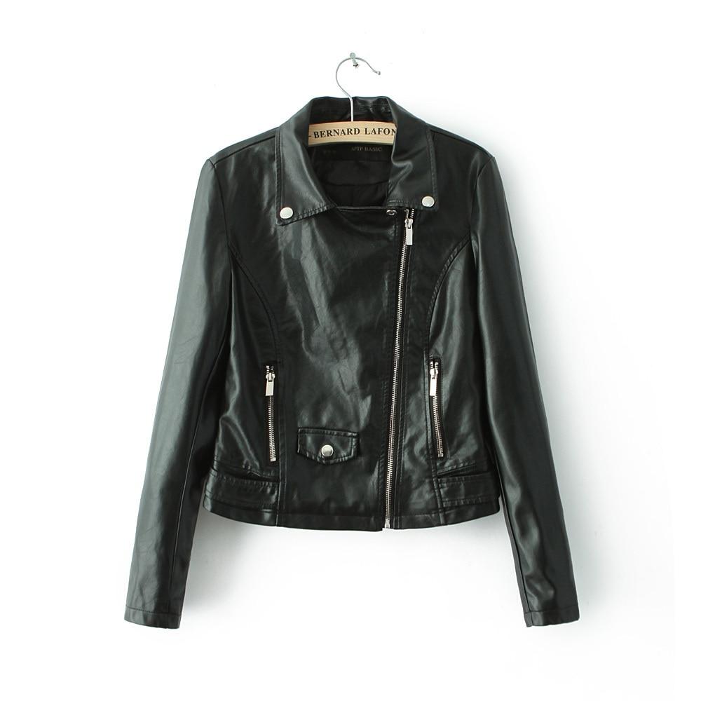 New fashion turn-down collar bomber   Leather   jackets women supernova shorts coat jaqueta couro casual dress pattern