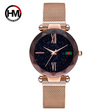 HM Luxury ladies watch magnet stainless steel mesh starry fashion diamond female luminous shining quartz relogio feminin