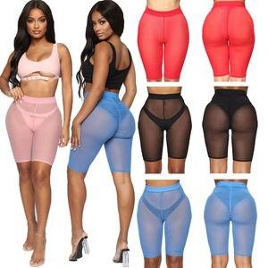 Image 2 - 4 kleuren Mesh Shorts Vrouwen See through Beach Badmode Cover Ups Nieuwe Hoge Taille Pure Kleur Bikini Cover Ups baden Shorts