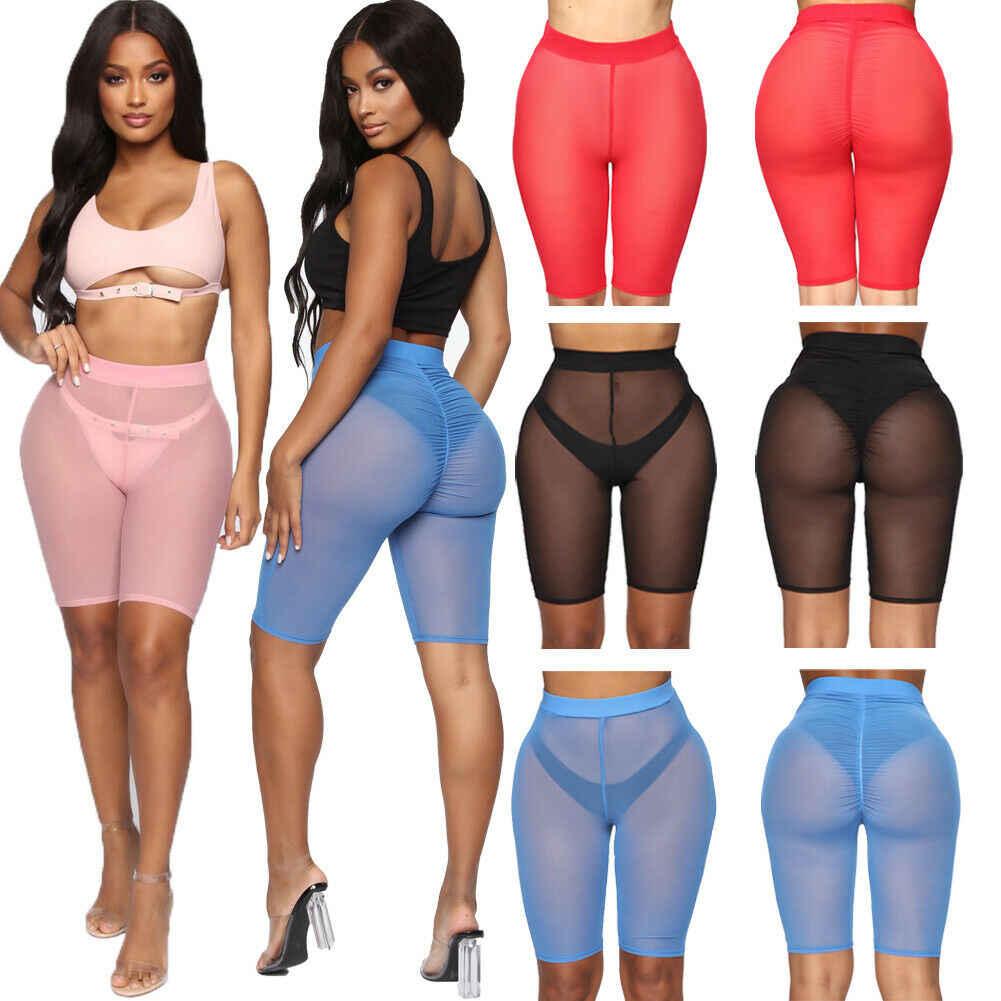 4 kolory siatkowe szorty damskie przezroczyste plażowe stroje kąpielowe Cover up nowa wysoka talia Pure Color osłona do bikini Ups szorty kąpielowe
