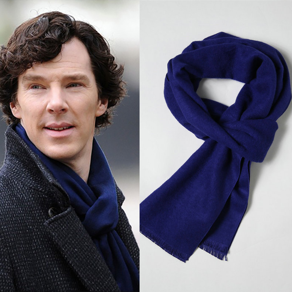 Cosplay 2016 Sherlock Holmes Navy Blue Muffler Scarf With Tasseled Ends Cosplay Costume Gift
