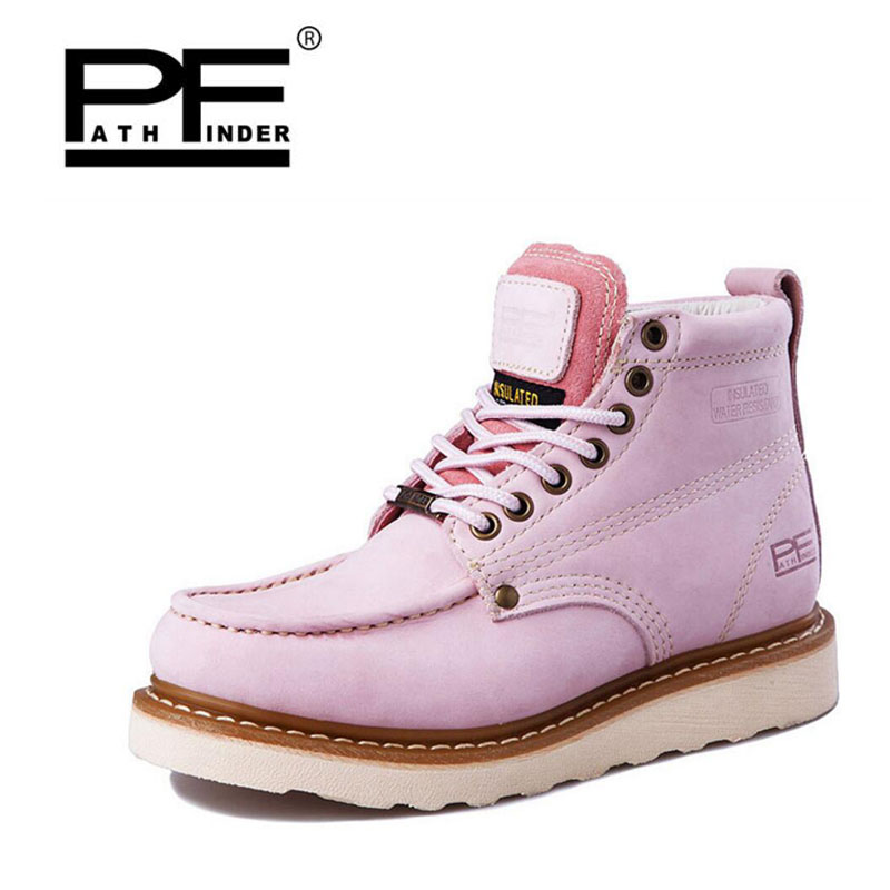 Pathfind women Genuine Leather ankle Boots zapatos mujer Handmade Martin timber shoes Tooling 2018 womens Outdoor Western Botas