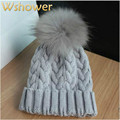 18 Colors Fashion Women Winter Raccoon Fur Hats Cable Crochet Knitted Wool 100% Real Fur pompom Beanies Hat Cap For Lady