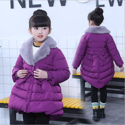 Children Winter Jackets for Girls Cotton Outerwear Faux Fur Collar Hooded Coats Thermal Warm Cotton Lined Parkas with Belt plus size women winter jackets lengthened down cotton coats high quality hooded fur collar parkas thick warm jackets okxgnz 1149