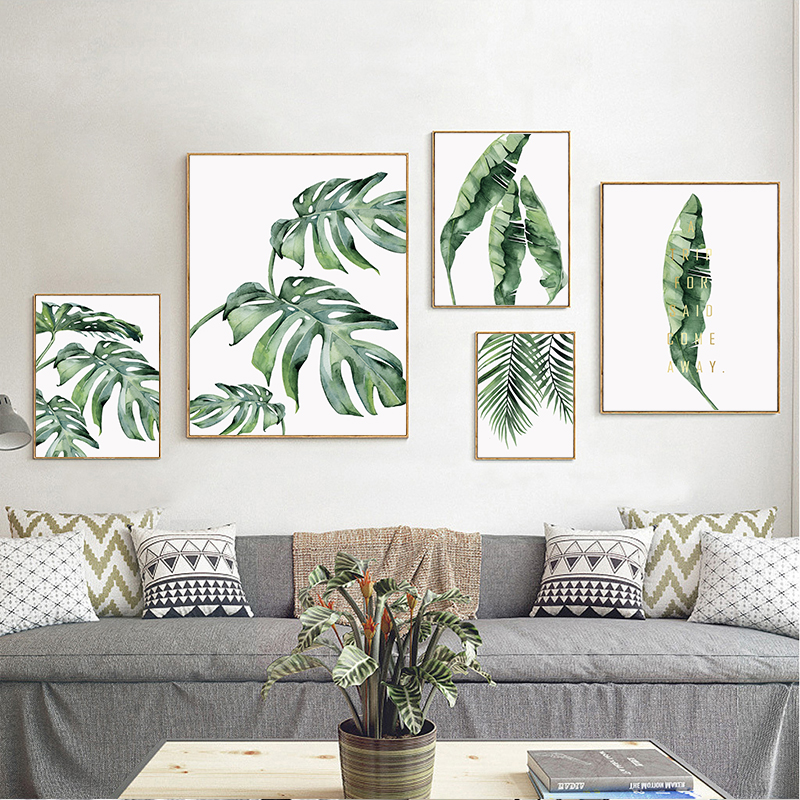 HTB1hEaRc8LN8KJjSZPhq6A.spXa6 Watercolor Plant Green Leaves Canvas Painting Art Print Poster Picture Wall Modern Minimalist Bedroom Living Room Decoration